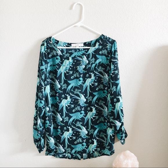 95730a68fb7f60 LOFT Tops | Peacock Print Silky Blouse | Poshmark